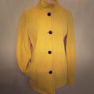 Lands End Boiled Wool Yellow Pea Coat